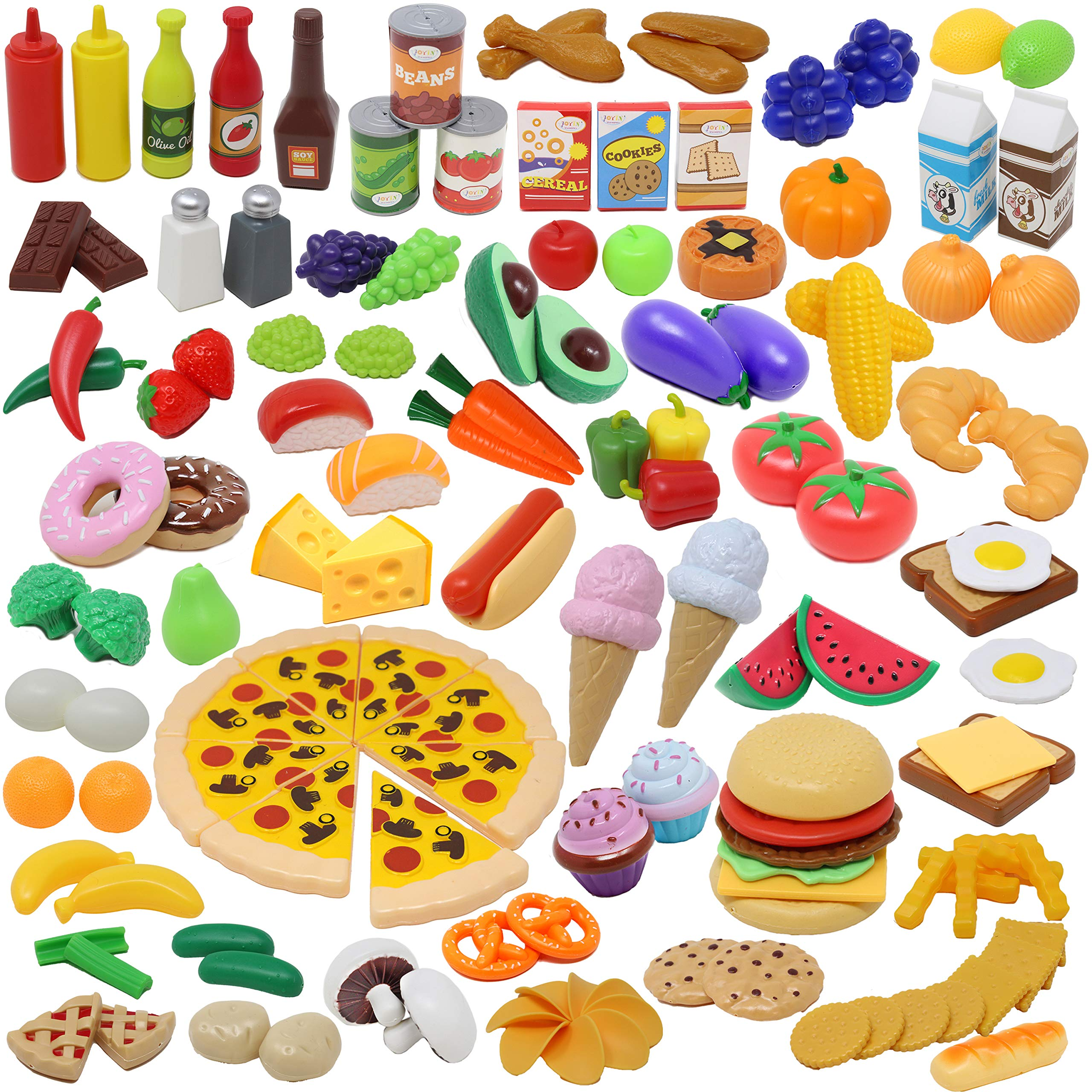 JOYIN Play Food Set 135 Pieces Play Kitchen Set for Market Educational Pretend Play, Food Playset, Kids Toddlers Toys, Kitchen Accessories Fake Food, Party Favor Supplies, Holiday