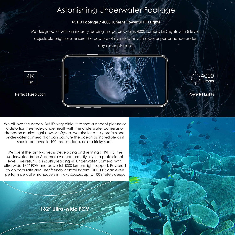 Drone Submarino Cámara Fifish P3 QYSEA 4K UHD 20 megapíxeles Cable ...