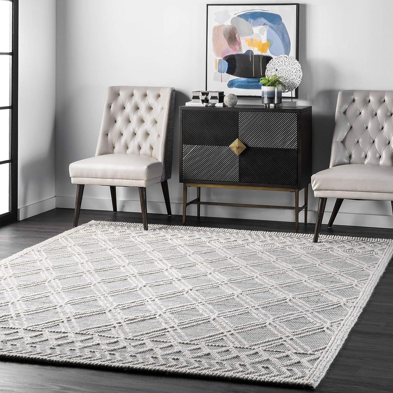 Nuloom Natti Contemporary Trellis Wool Area Rug 6 X 9 Grey Furniture Decor