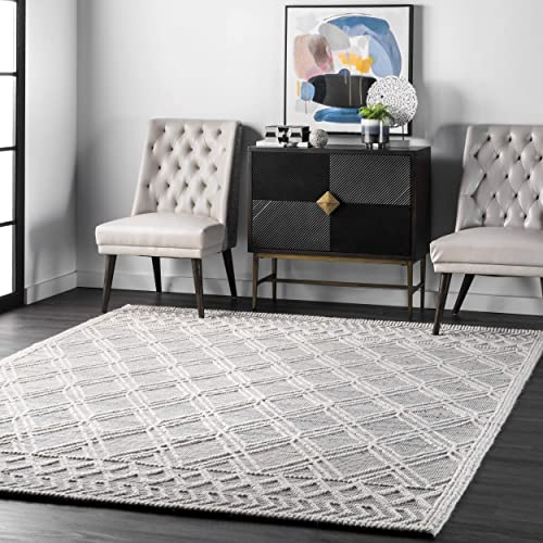 nuLOOM Natti Contemporary Trellis Wool Area Rug