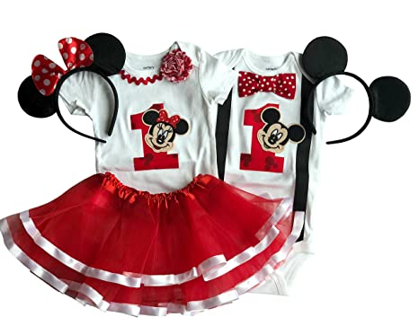 d39944809 Amazon.com  Boy Girl Twin Outfits 1st Birthday Mickey and Minnie ...
