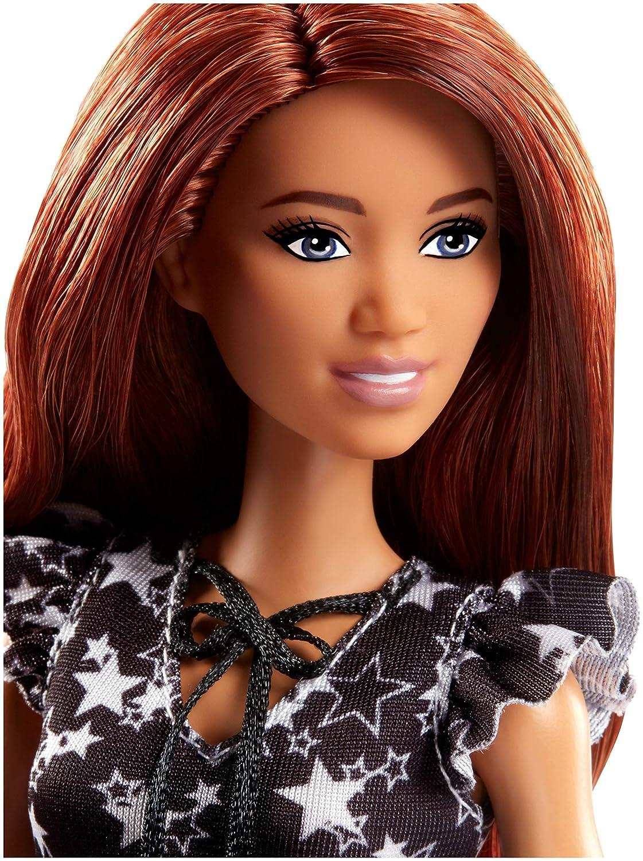 9ffa35666e6 Barbie FJF39 Fashionista Puppe im schwarz-weißen Sternchen Kleid   Amazon.de  Spielzeug