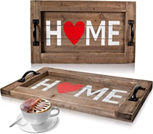 Farmhouse Serving Tray - Housewarming gift - HOME Heart Rustic Tray – Decorative Ottoman Tray – Coffee Table Tray – Practical Metal Handles and Rustic Design – Ideal for Home Décor, Coffee Table