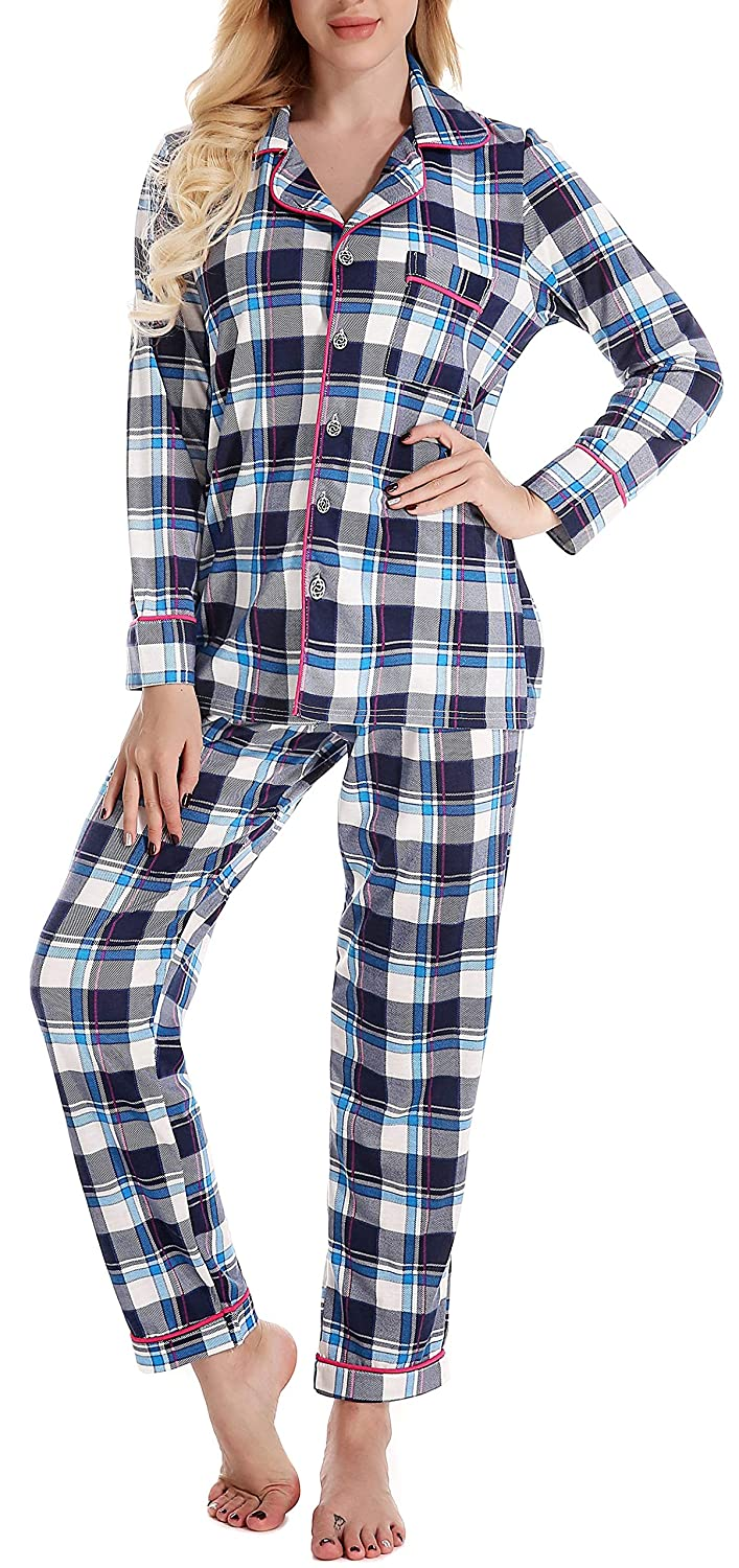 Plaid NORA TWIPS Women's Sleepwear Long Sleeves Pajama Set with Pants (XSXL)