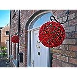 2Best Artificial (TM) 28cm arbusto de rosas rojas colgantes bolas de flores * * rayos UV * *