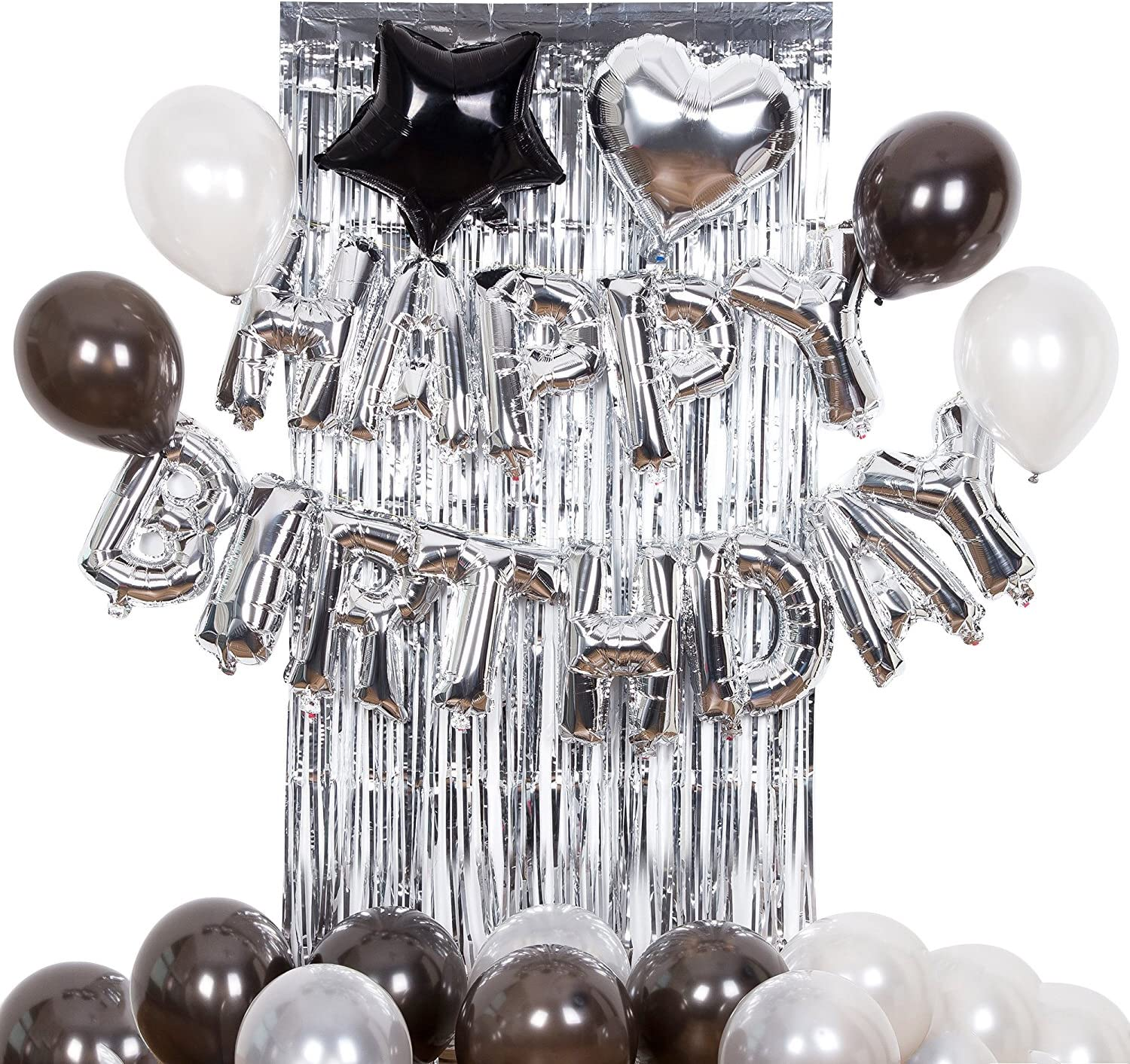 Silver Happy Birthday Alphabet Balloon Banner for Birthday Party Decoration Black and Silver Brilliant Foil Balloons Balloons, Metallic Tinsel Foil Fringe Curtains