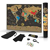 Scratch Off World Map Poster- Detailed Black & Gold Brown Travel Tracker Deluxe Edition Traveler Gift Set - Wall Art with Flags, Magnified Caribbean View & United States Outlined by Grynn(TM)