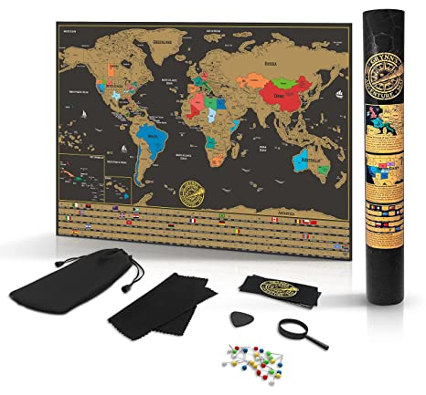Amazon scratch off world map poster detailed black gold scratch off world map poster detailed black gold brown travel tracker deluxe edition traveler gumiabroncs Choice Image