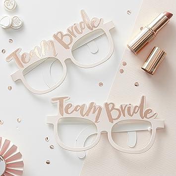 Team Bride Pink & Rose Gold Hen Party Novelty Glasses: Amazon.es ...
