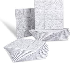 12 X 12 X 0.4 Inches Acoustic Soundproofing Insulation Panel Bevled Edge Tiles, Acoustic Treatment Used in Home & Offices, 9 Blocks Square Design for Home and Office (24 Pack, Silver Grey)