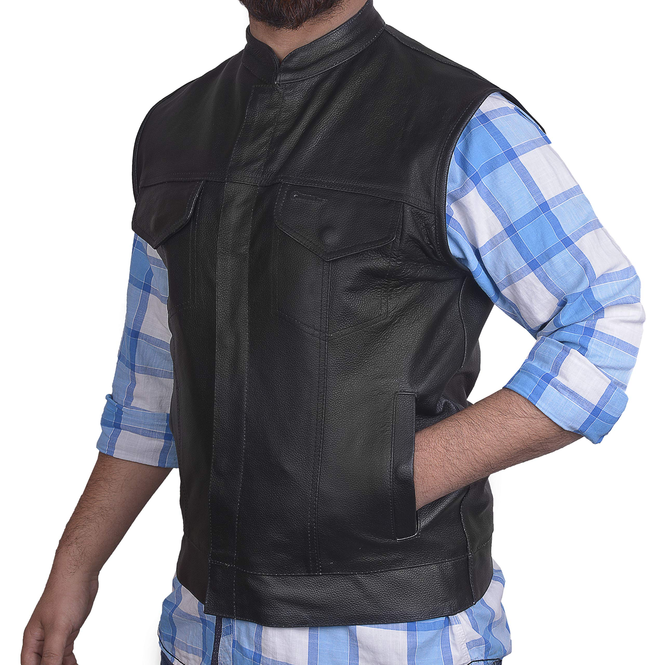 Men's SOA Motorcycle Genuine Cowhide Leather Club Style Vest with Concealed Gun Pockets New (3XL) by DEFY Moto Leather