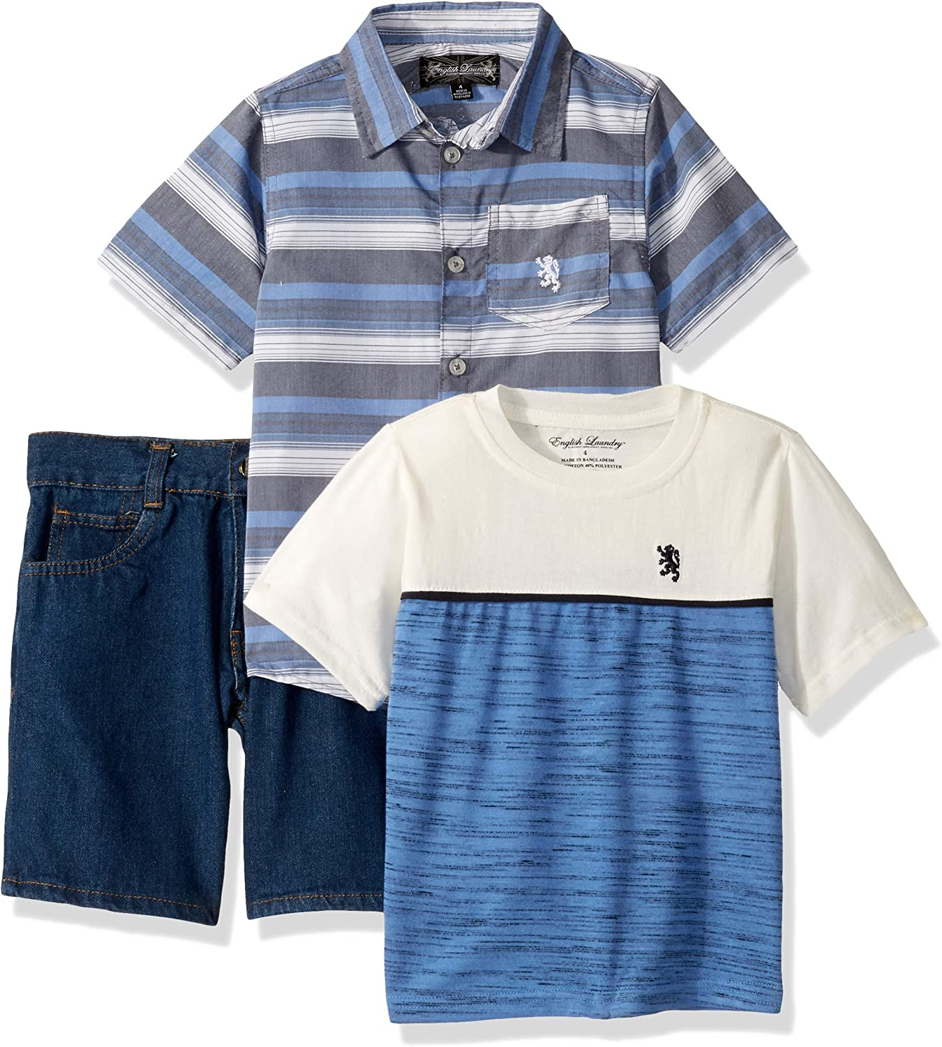 English Laundry Boys Sleeve Woven, T-Shirt, and Denim Short Set