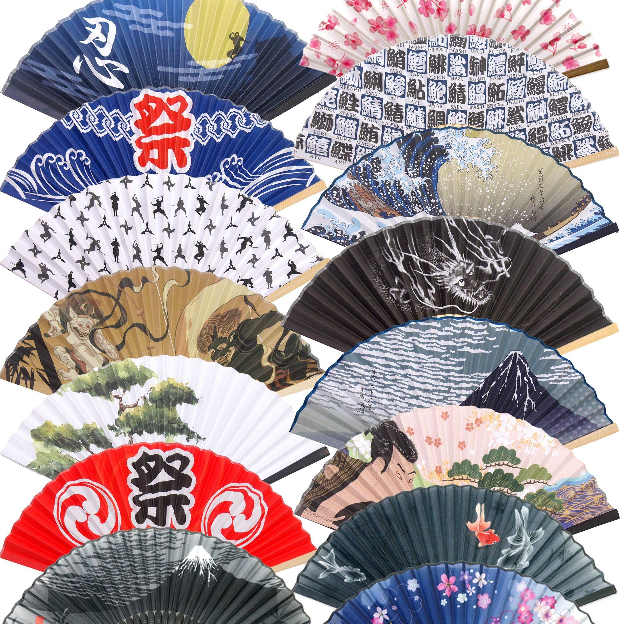Folding Fans 5pcs set Japanese Traditional style Vintage Retro Style Hand Fan Random assort set by JAPANESE cool items store