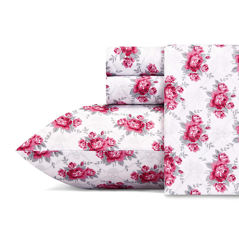 Betsey Johnson Skull Rose Trellis Sheet Set, Queen,