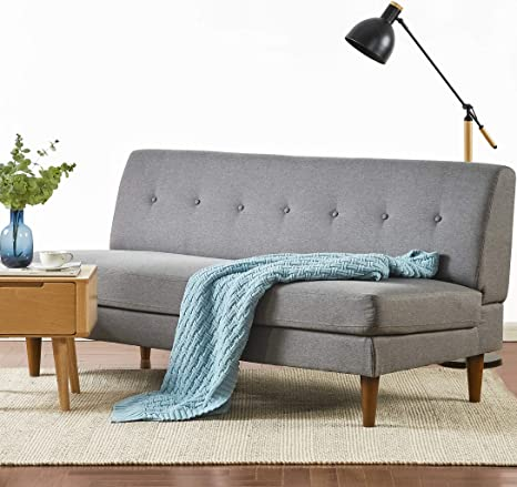 mellow mette modern armless loveseat sofa couch classic grey