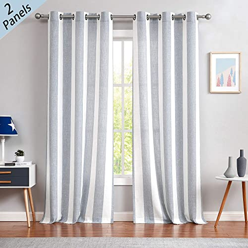 Central Park Miles Stripe Linen Look Curtains Grommet Light Filtering Curtains for Living and Bedroom Casual Modern Stripe, Set of 2, Blue, 44 x 108 Each
