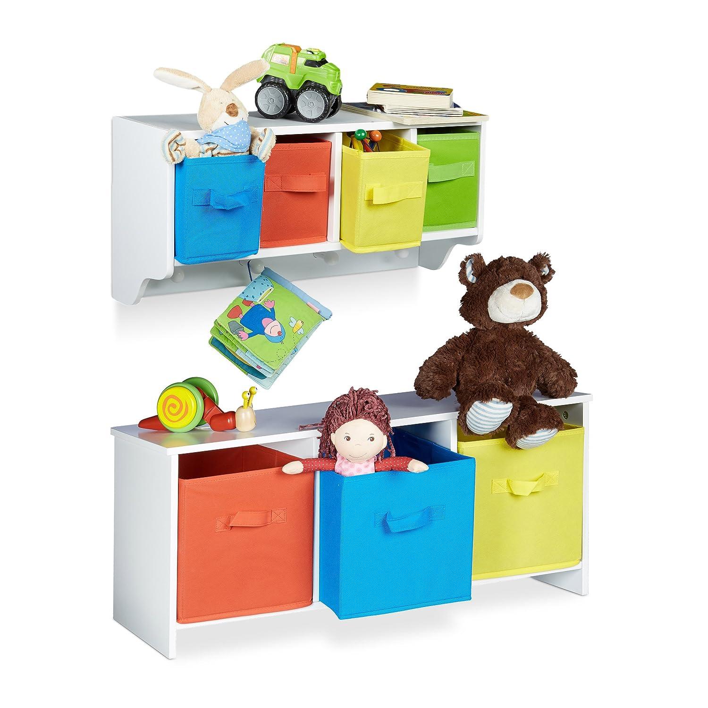 2 tlg. Kindermöbel Set ALBUS, Wandregal für Kinder, Sitzbank mit Stauraum, Wandgarderobe 4 Kleiderhaken, Faltbox, weiß Wandregal für Kinder weiß relaxdays