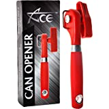ACE Safety Can Opener - Cut With The Smooth Edge Side Cutting Red Manual Tin Can Opener. Round Handle Designed To Fit In Your Palm. Coupled With Rubberized Knob For A Firm Grip.