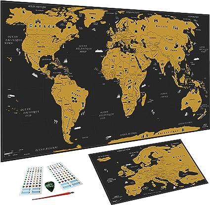 WIDETA - Mapa del mundo para rascar (82 x 43 cm), diseño de mapamundi y bolígrafo de rascador, color dorado: Amazon.es: Oficina y papelería