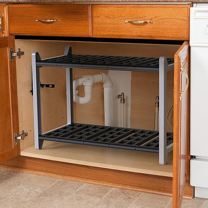 vremi ampliable debajo del fregadero organizador - 2 niveles de plástico de almacenamiento estantes con Heavy Duty postes de metal para baño o cocina ...