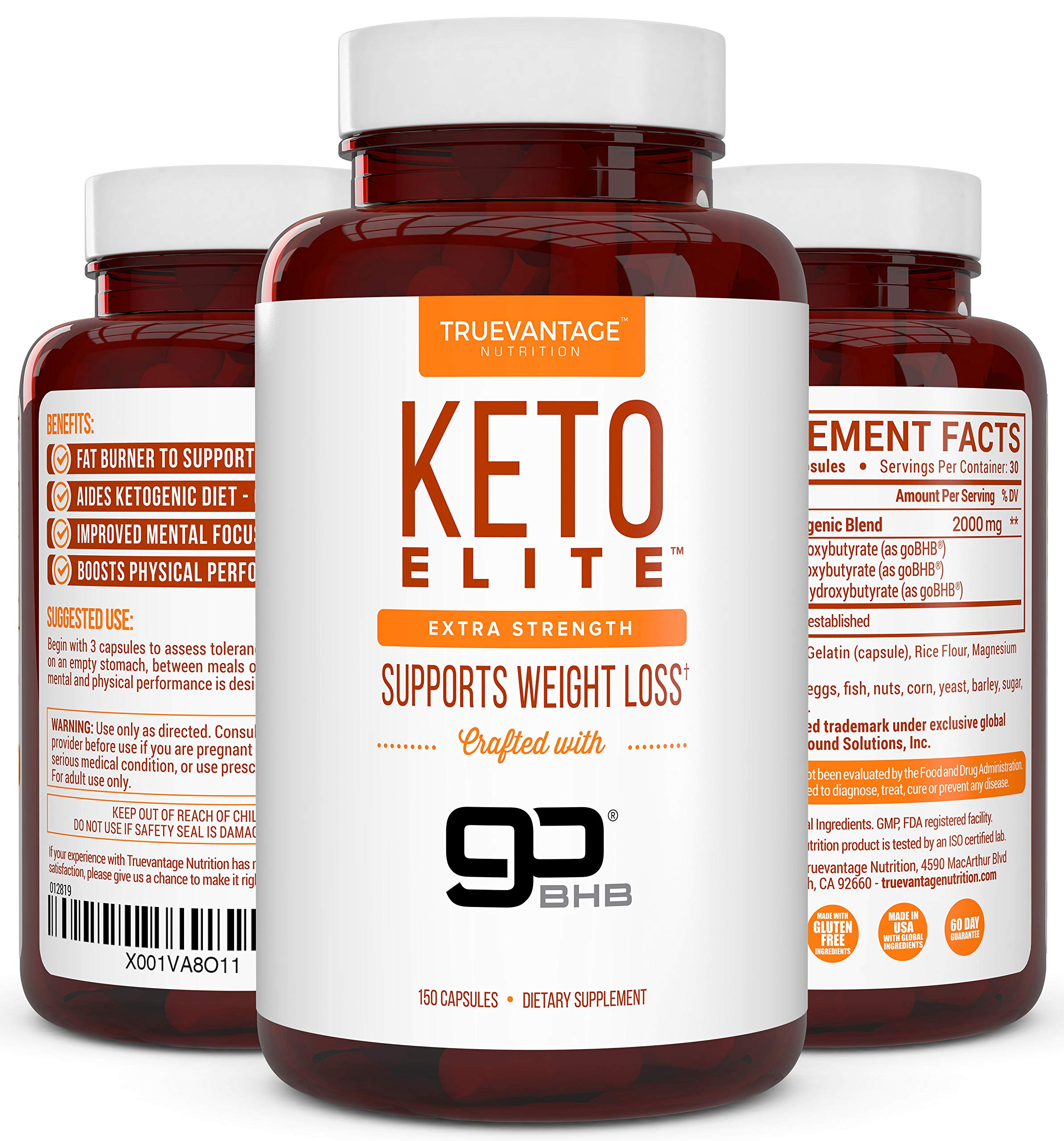 Keto Diet Pills 2000mg- Ketosis Pill for Fat Burn, Weight Loss, Energy and Focus -Patented goBHB Diet Supplement with Exogenous Ketones- Beta-Hydroxybutyrate- Keto BHB by Truevantage Nutrition