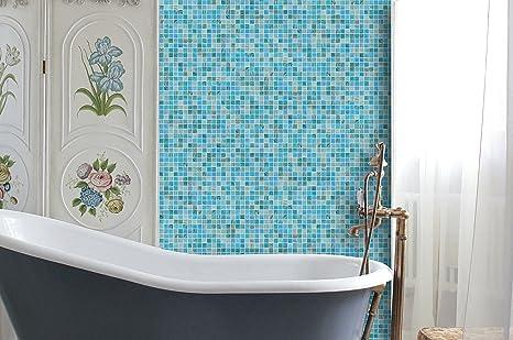 Dzaale mosaico blu oceano stella d oro in vetro mosaico