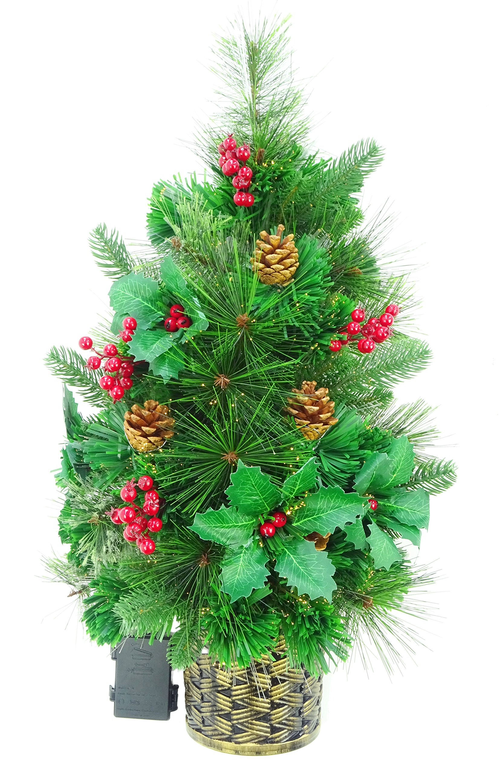 Christmas Concepts 2ft (60cm) Green Fibre Optic Pine Wall Mounted Christmas Tree with Cones and Red Berries