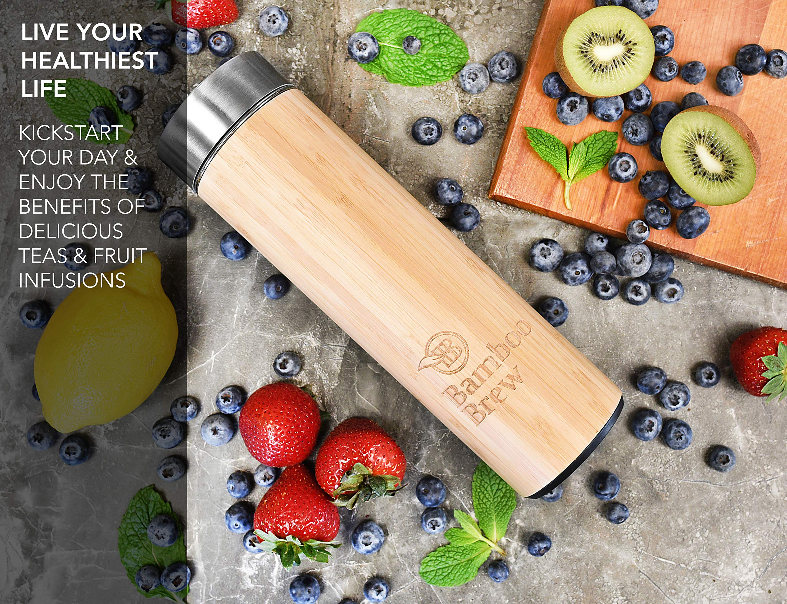 Bamboo Tumbler with Infuser & Strainer 18oz | Stainless Steel Coffee & Tea Flask | Double Wall Vacuum Insulated Travel Mug | Loose Leaf Detox Brew & Fruit Infusion Water Bottle | Ecofriendly Thermos by Bamboo Brew (Image #3)