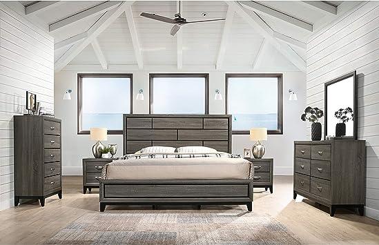 Amazon Com Overstock Stout Panel 6 Piece Modern Contemporary Bedroom Set King Furniture Decor