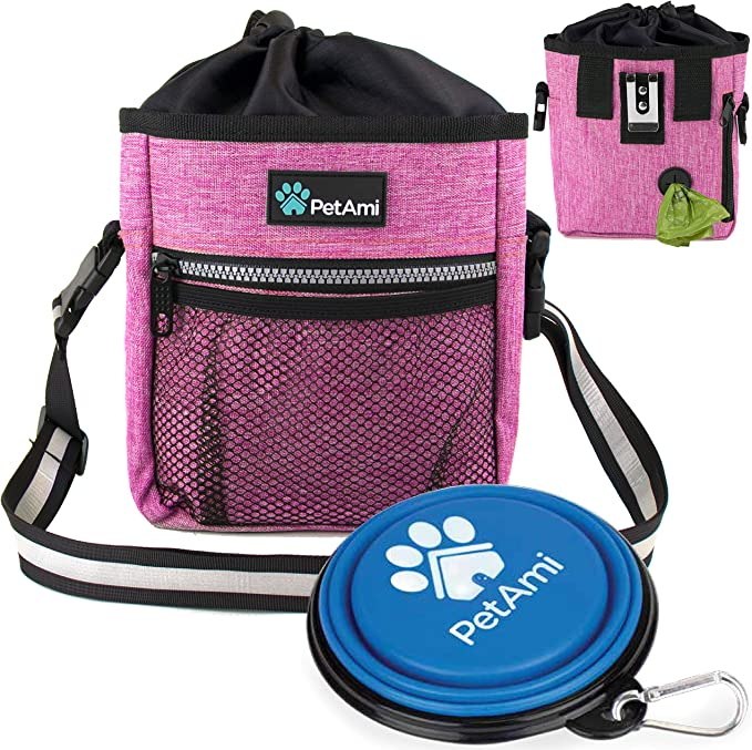 Outdoor Training Dog Snack Reward Waist Pocket Pet Feed Training Pouch Pink//Green Dog Treat Pouch Training Bag with Clip