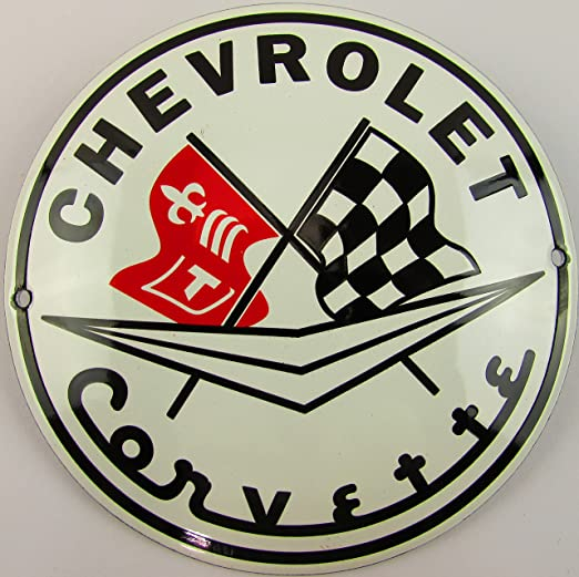 NUEVO esmalte Cartel Chevrolet Corvette 12 cm redondo ...