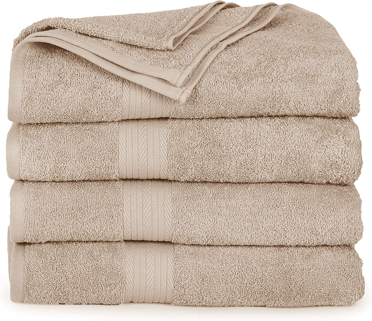 Ample Decor Luxury Bathroom Towels, Made Long-Staple Cotton, Piece of 4 (30 X 54 Inch) Eco Friendly Hotel & Spa Quality Bath Towels Ideal for Daily Use – Beige
