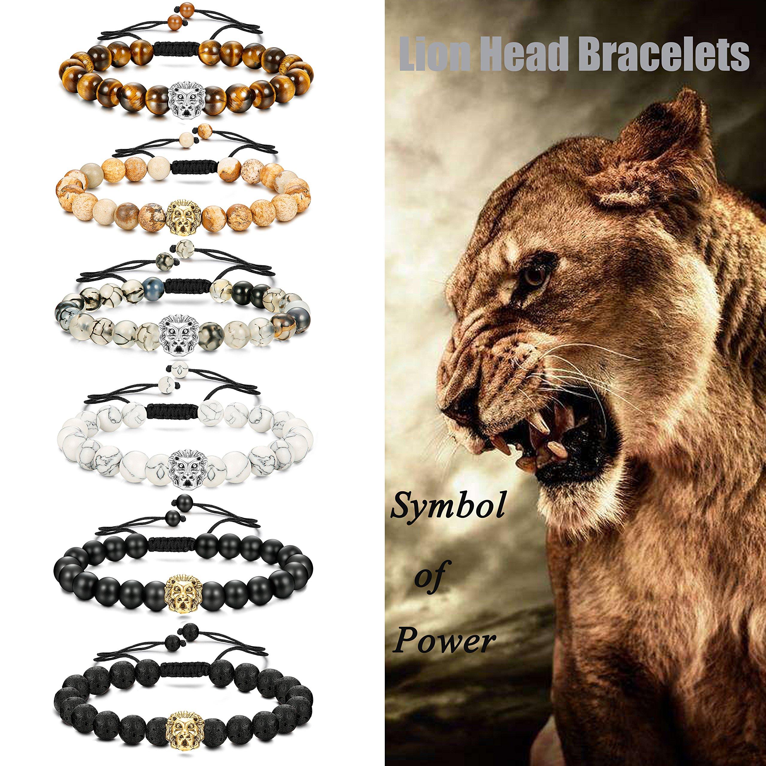 LOLIAS 6 Pcs Mens Lion Bracelet Natural Stone Bead Healing Link Bracelet Adjustable B