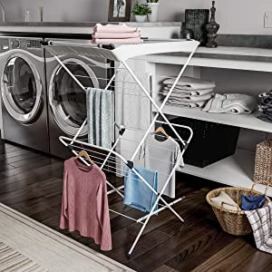 Home Clothes Drying Rack – 2 Tiered Laundry Sorter with Rust Resistant Metal Frame and Nylon Mesh Top for Folding and Hanging Garments by Lavish