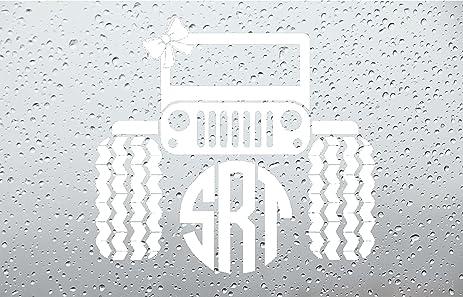 Amazoncom Bow Jeep Monogram Car DecalSticker INCH WHITE - Monogram car decal amazon
