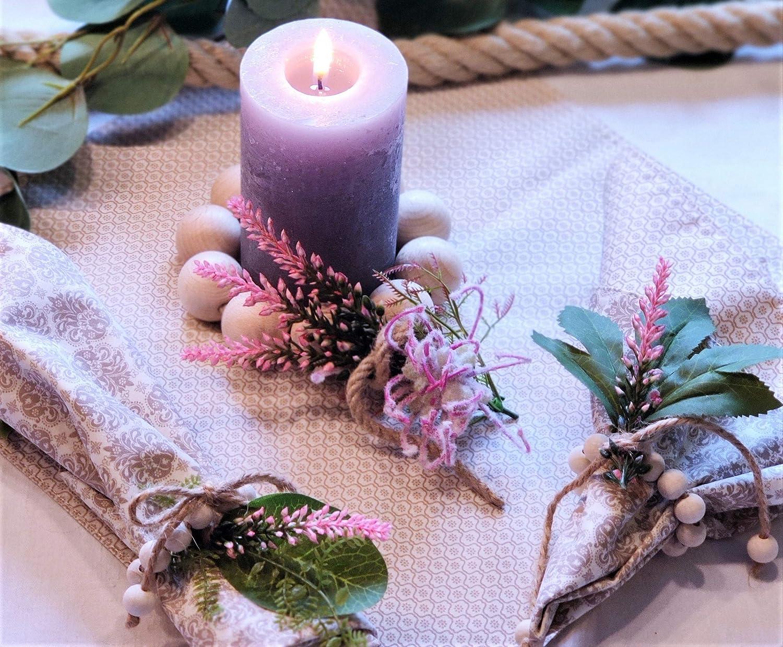 Serviettenringe 6 Stück Set Holzperlen Juteband Kerzenring Kerzenschmuck Tisch