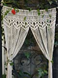 RISEON Macrame Wall Hanging Tapestry- Macrame Door HangingRoom dividermacrame CurtainsWindow Curtain door curtains wedding Backdrop Arch BOHO wall decor 33.5W x 70L (without bar)