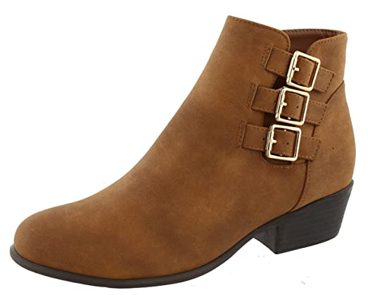 Women's Closed Toe Strappy Buckle Chunky Stacked Heel Ankle Bootie