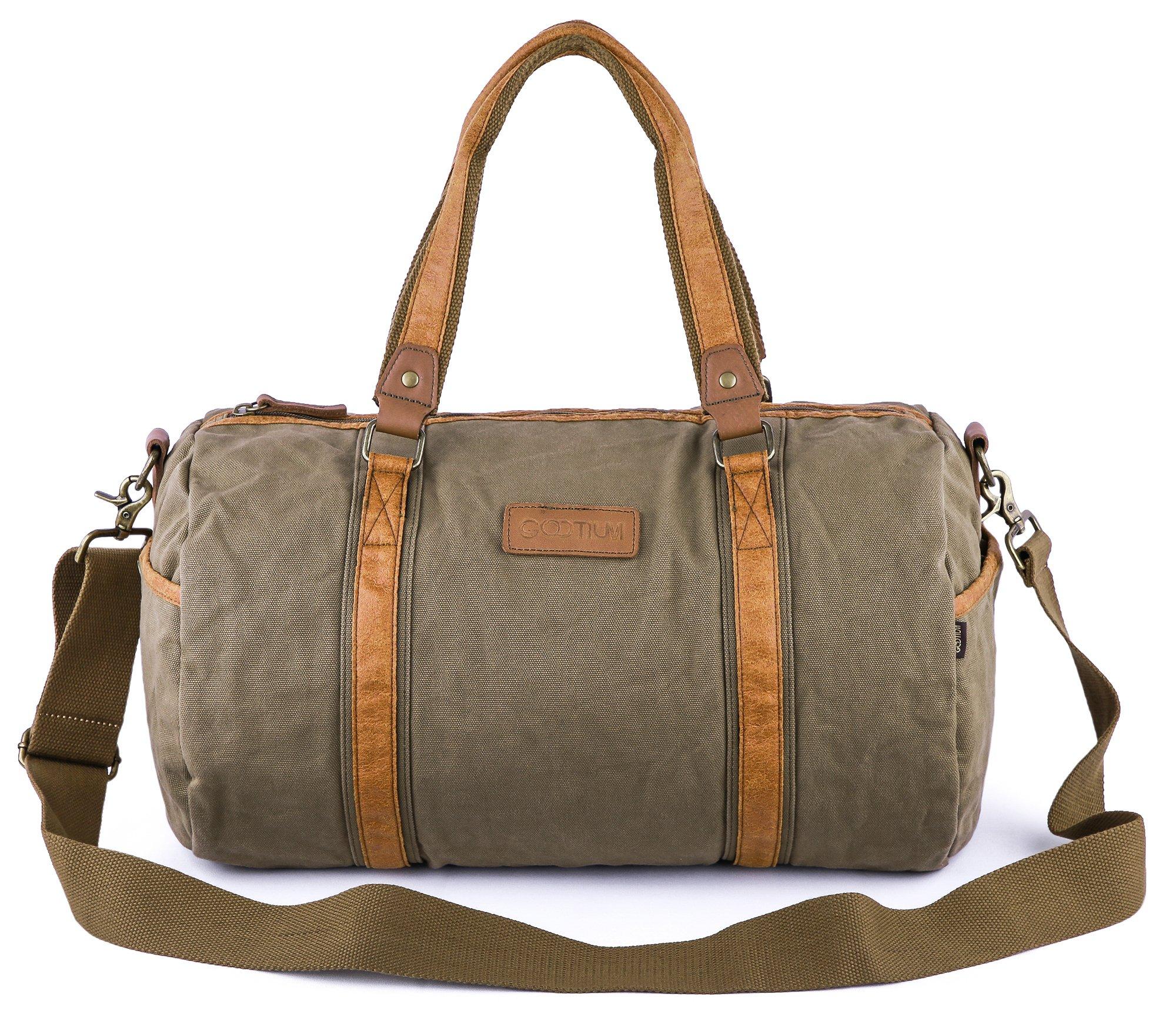 Gootium Canvas Duffel Bag - Travel Duffle Weekender Shoulder Bags Gym Tote, 28L, Army Green