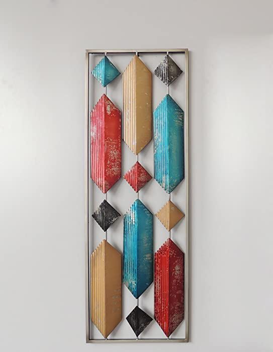 All American Collection New Aluminum/Metal Wall Decor with Frame (Multi Color Long Hexagon)