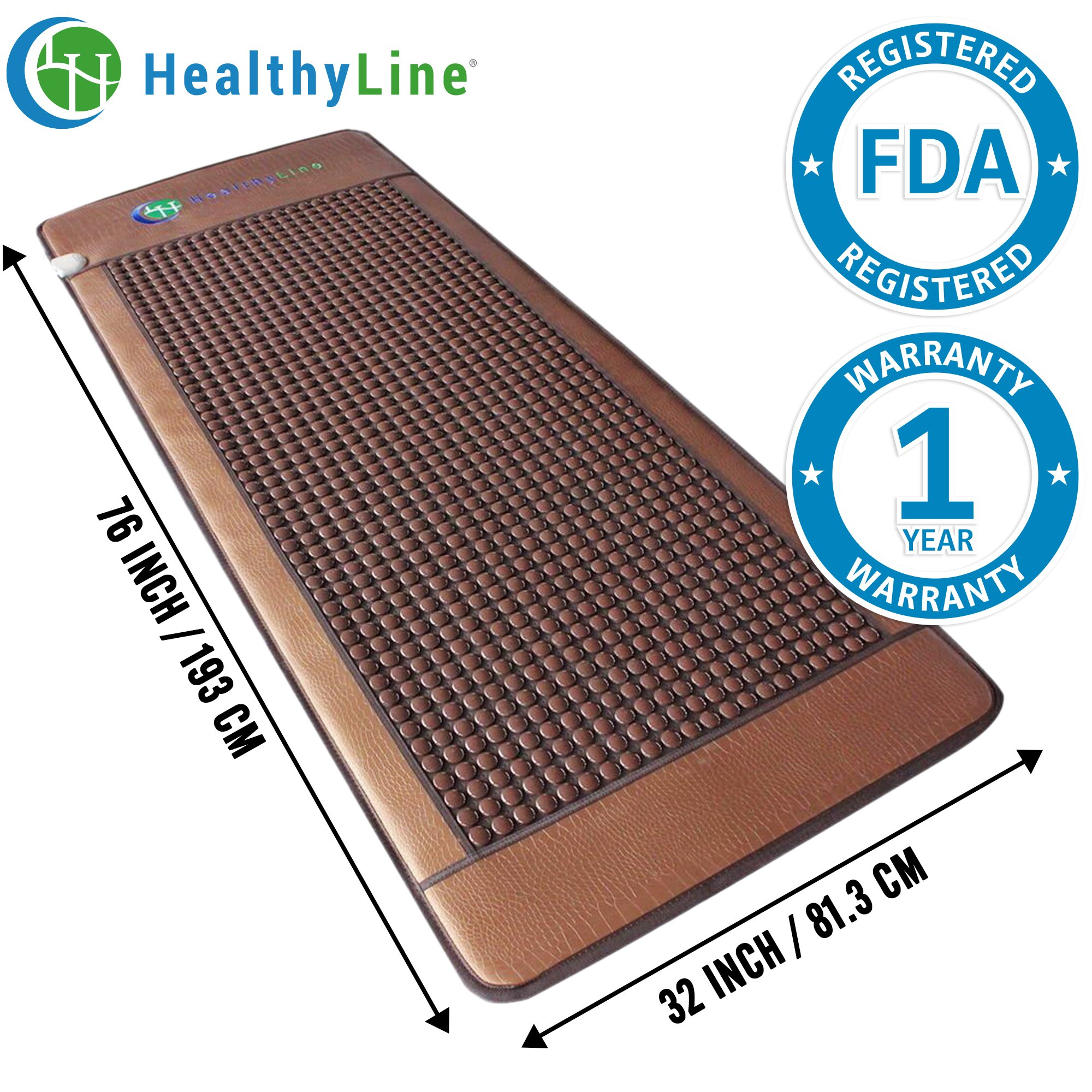 HealthyLine Far Infrared Heating Mat|Natural Tourmaline Massage Table Healing Pad 76'' x 32'' |​​​​​ ​Heated Negative Ions (XL & Firm) | Relieve Pain, Stress & Insomnia | FDA Registered