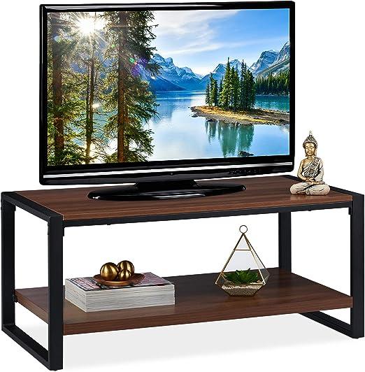 Relaxdays Mesa Centro con Estante Inferior, Mueble TV, Tablero de Partículas y Metal, 45 x 100 x 55 cm, Marrón Oscuro: Amazon.es: Juguetes y juegos