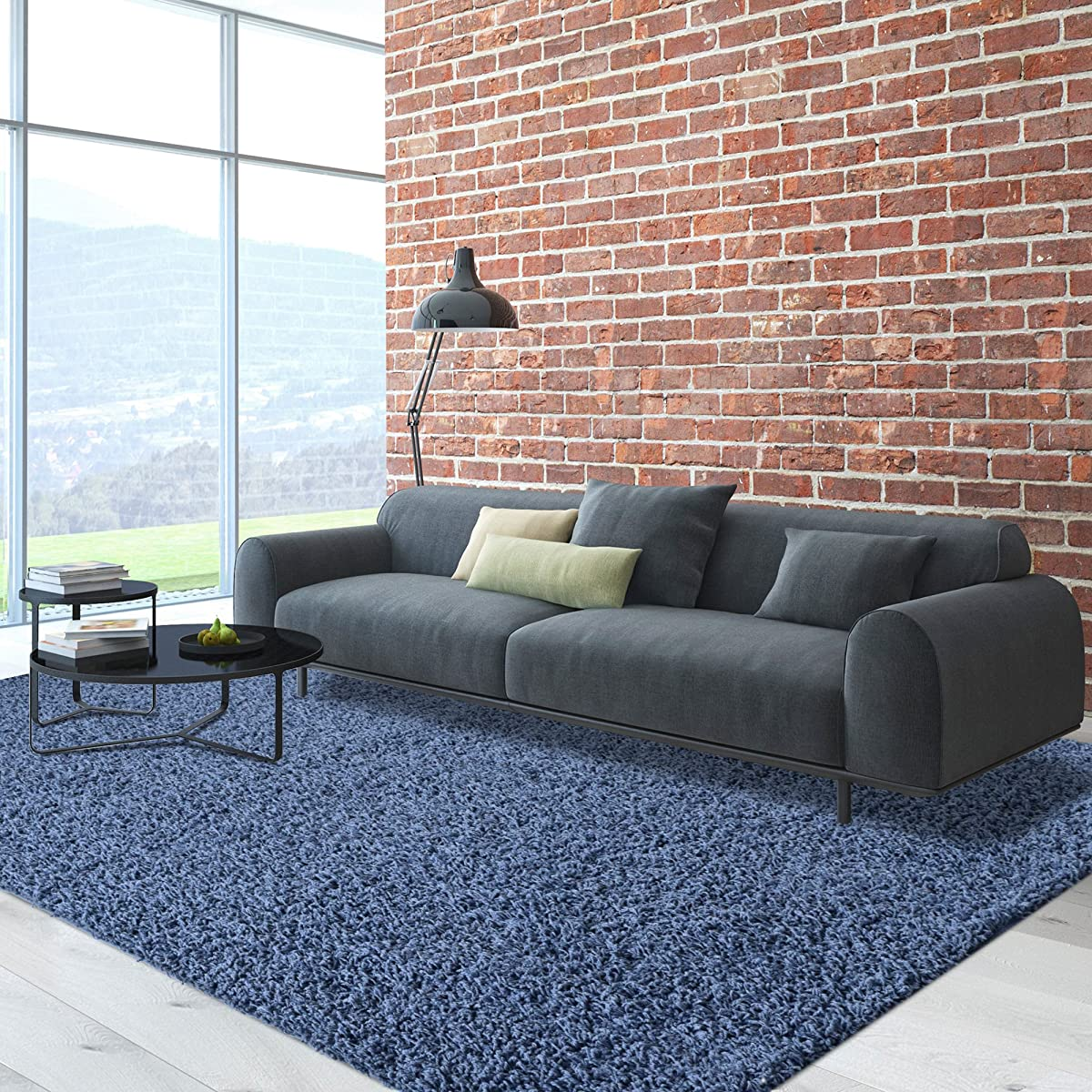 iCustomRug Dixie Cozy Soft And Plush Pile, 5ft0in x 7ft0in (5X7) Shag Area Rug In Indigo Blue