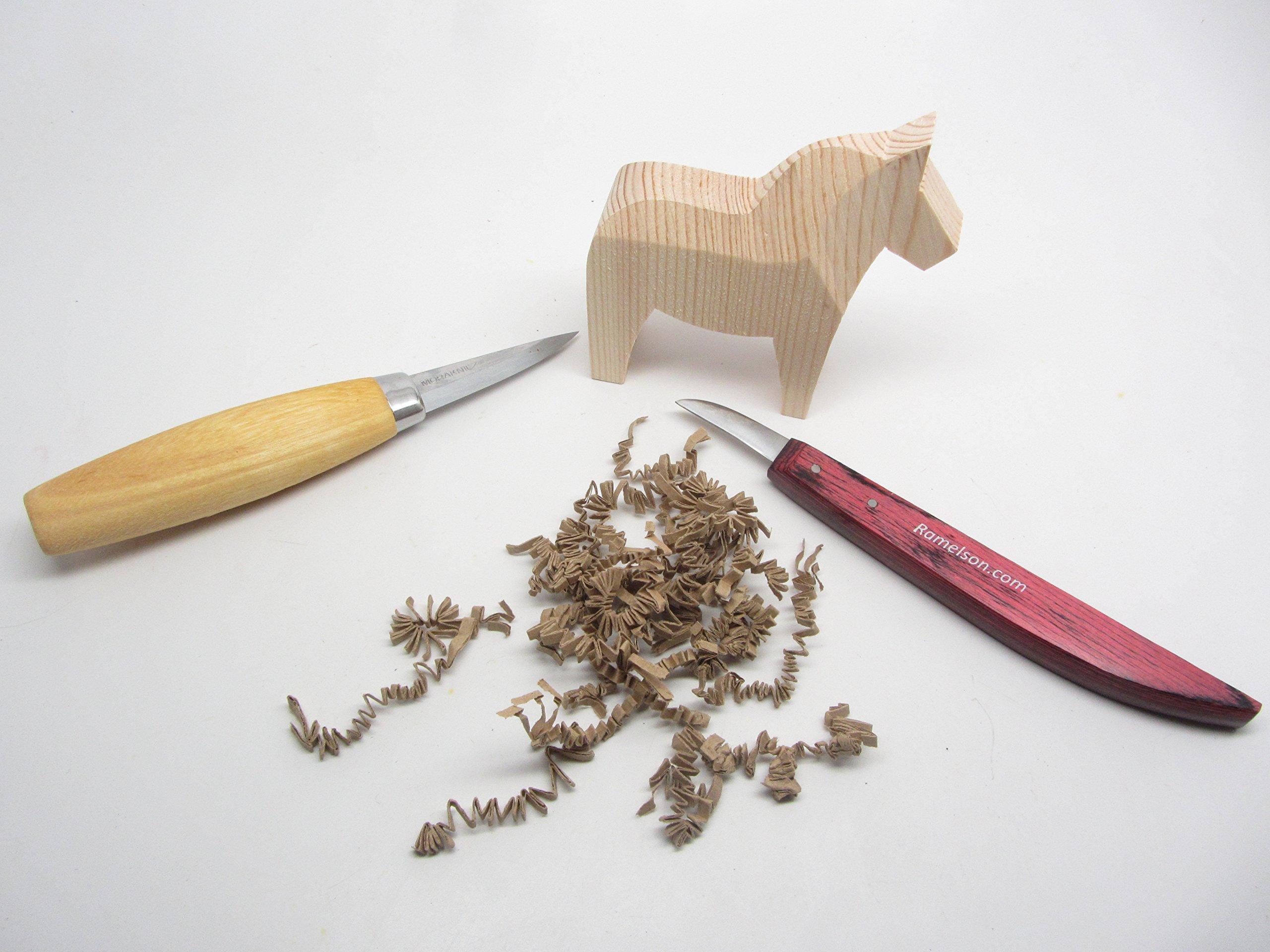 Morakniv Carving Kit 120 Carving Knife and Rough Cut Wooden Swedish Dala Horse by Morakniv
