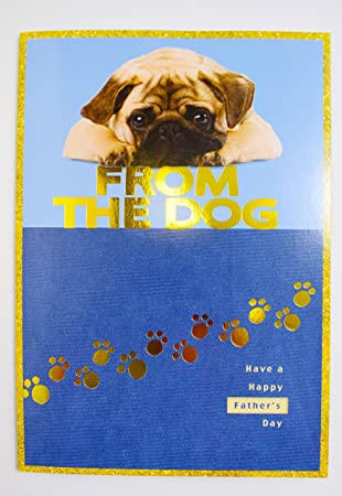 744bb26cb45eb Happy Father s Day From The Dog Cute Puppy Animal Pug Paw Print Blue Luxury