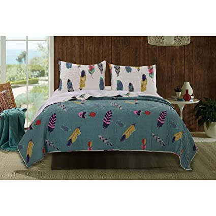 2 Piece Dream Catcher Theme Quilt Twin Set, Beautiful Girls All Over  Feather Bedding,