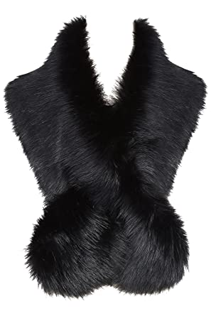 84412335c BABEYOND Women's Faux Fake Fur Collar Shawl Faux Fur Scarf Wrap for Winter  Coat 1920s Flapper