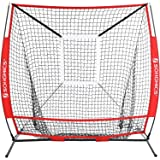 SONGMICS 5' x 5' Baseball Net, Portable Softball Net, with Carry Bag, Ground Stakes, for Hitting and Batting Practice, Red, USBN55RD