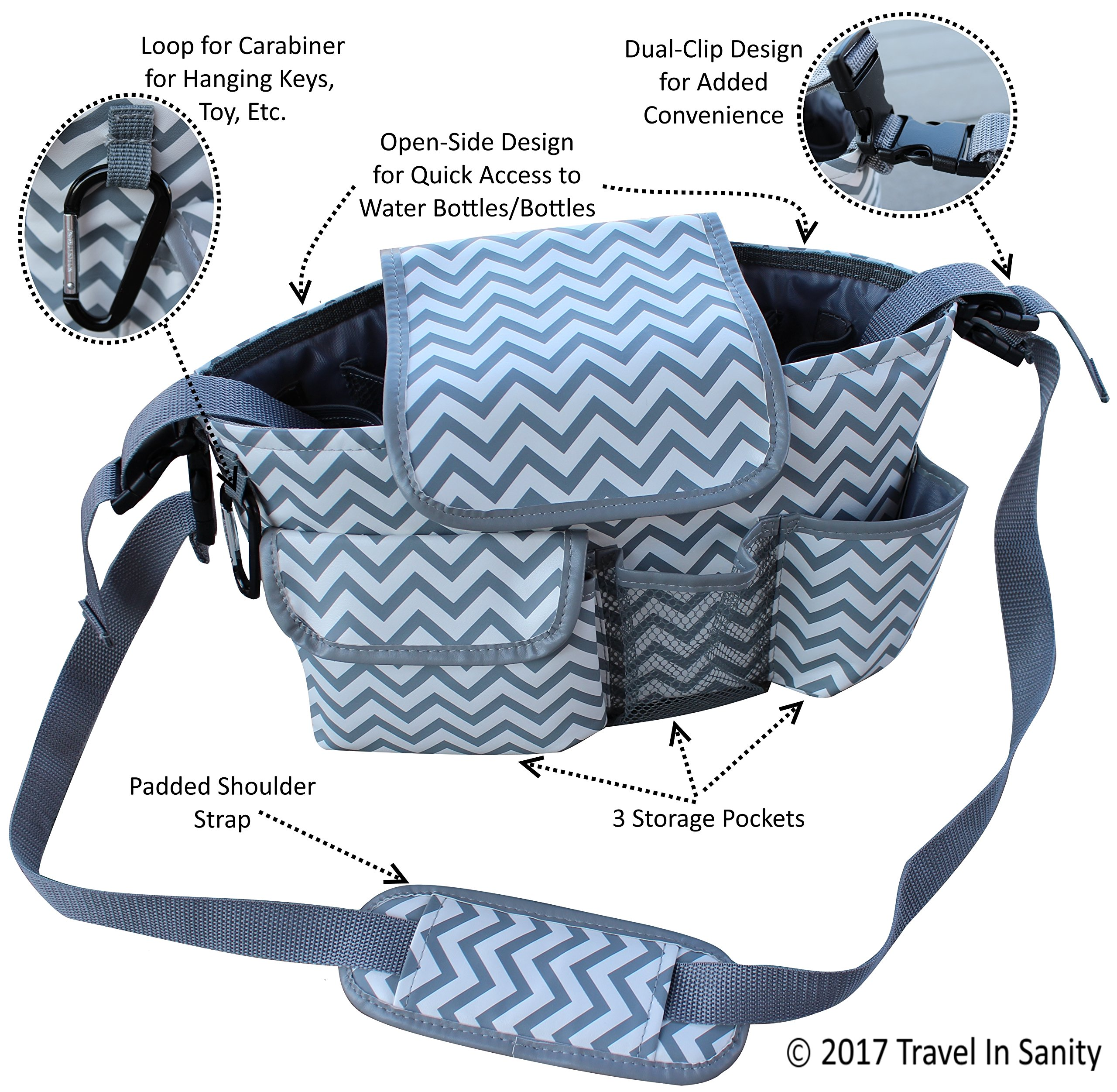 Universal Stroller Organizer with Cup Holders | Mini Diaper Bag | Easily Store Wallets, Keys, Bottles, Diapers, Wipes & Toys. | Premium Chevron Stroller Caddy by Travel in Sanity by Travel in Sanity (Image #2)