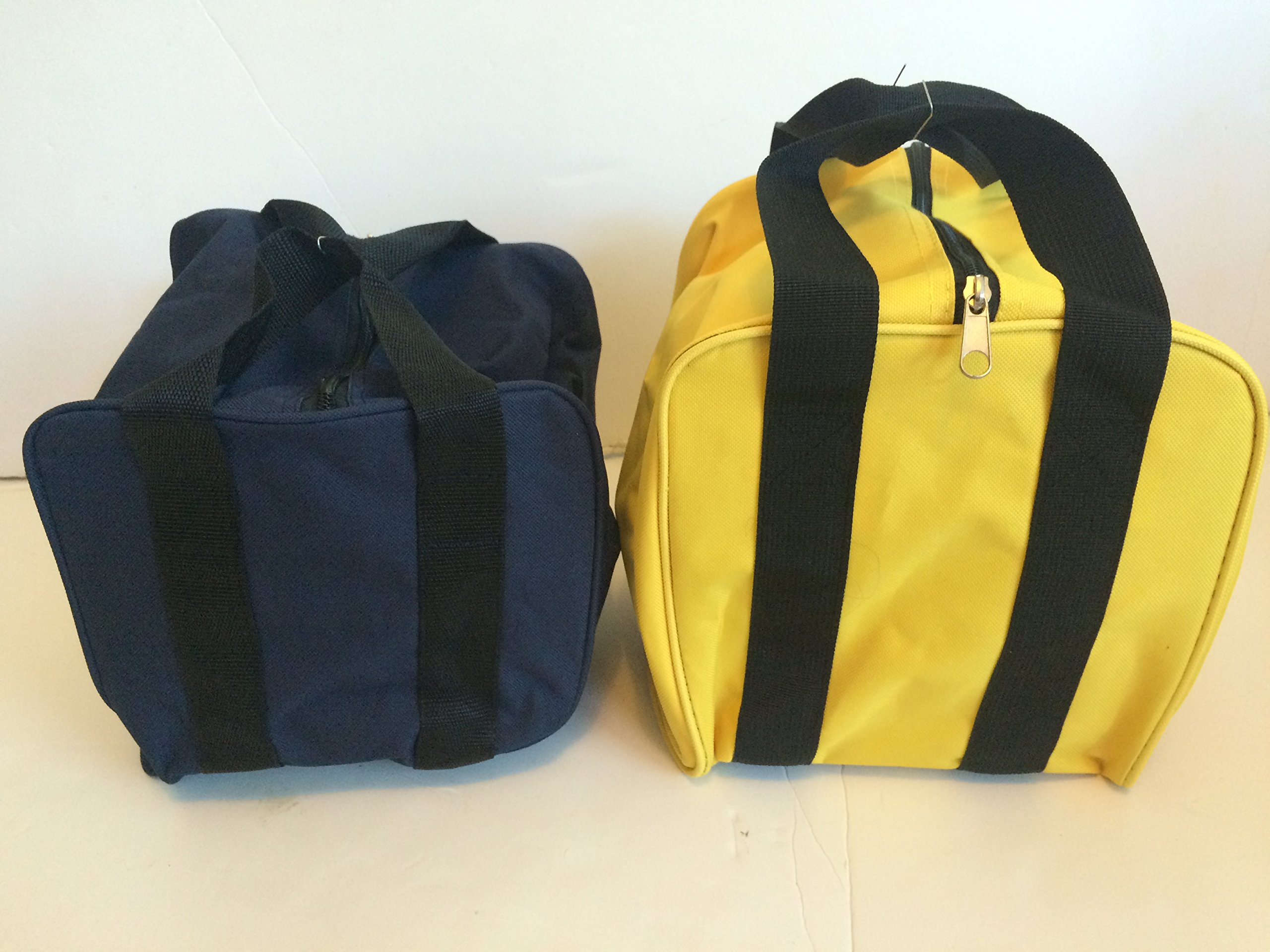Unique Package - Pack of 2 Extra Heavy Duty Nylon Bocce Bags - Blue with Black Handles and Yellow with Black Handles